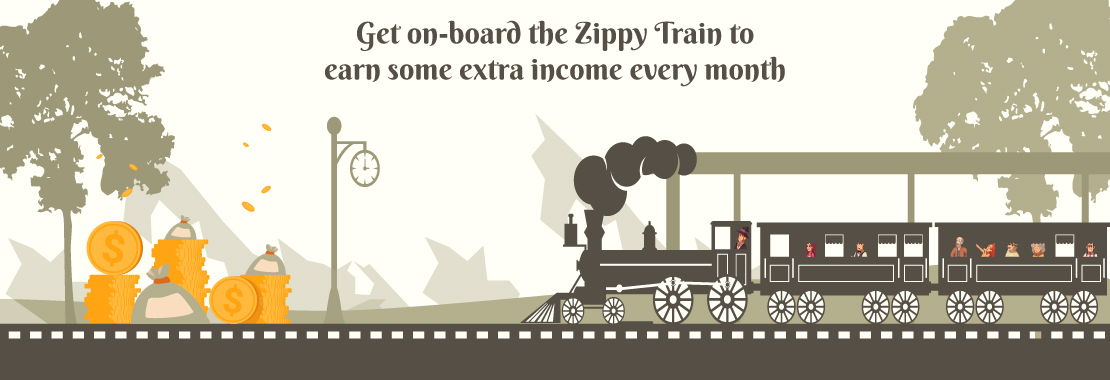A train with an engine driver, passengers have money in their hands