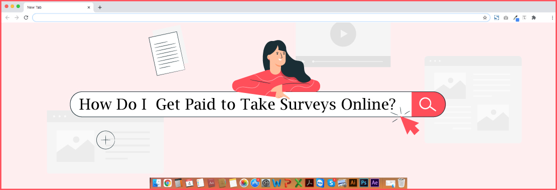 A girl searching about paid survey sites online.