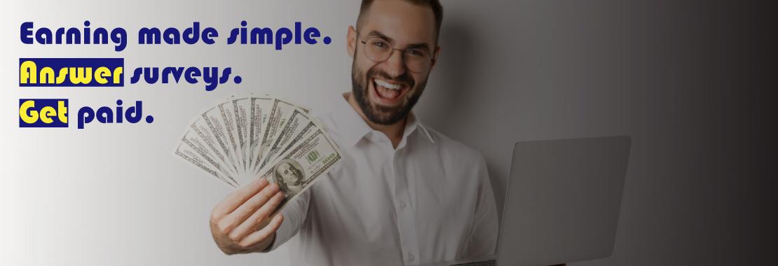 man holding money, paid surveys