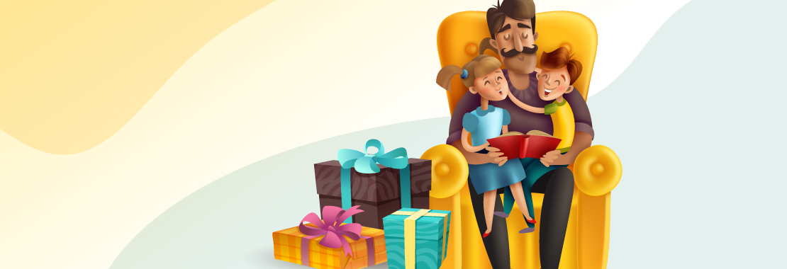 father and children bonding, father with gifts